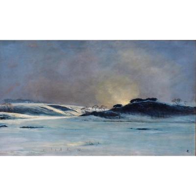 André Paul LEROUX, 1870-1950, Paysage de neige près de Fécamp, tableau, vers 1930
