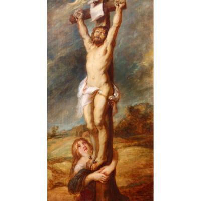 Ecole Française vers 1850, Christ en croix avec Marie-Madeleine, tableau