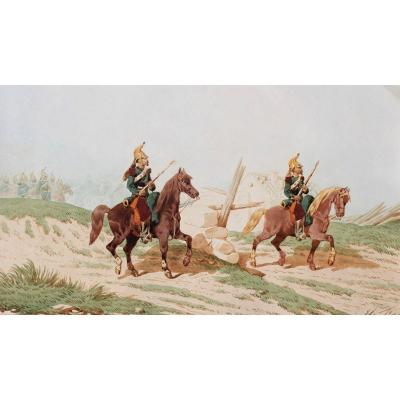 Théodore FORT, 1810-1896, Dragons à cheval, dessin, circa 1870-80