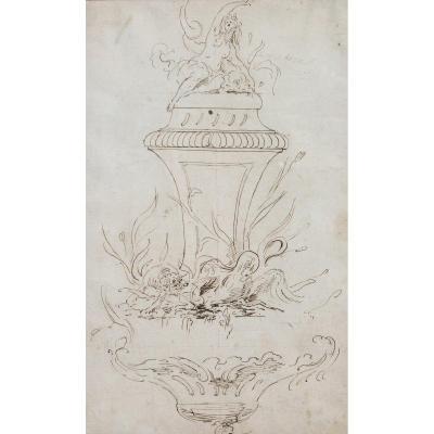 Ecole Française du XVIIIe siècle, Projet de fontaine inspiré de J.-B. Oudry, dessin, circa 1750