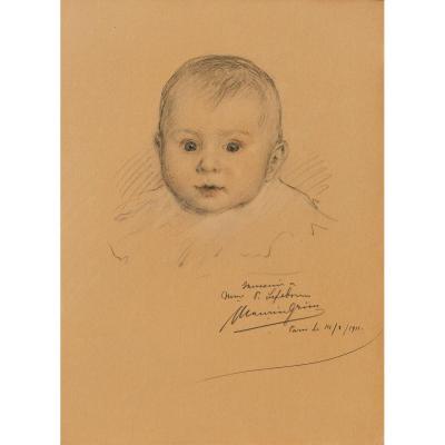 Maurice GRUN 1869-1947, Portrait de bébé, dessin, craie noire et sanguine, 1911