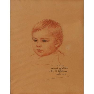 Maurice GRUN 1869-1947, Portrait d'enfant, dessin, craie noire et sanguine, 1916