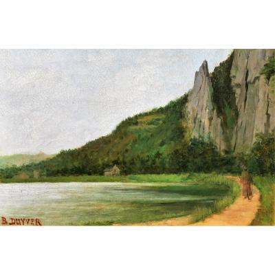 B. DUYVER, XIXe, Paysage au lac et au promeneur, tableau, circa 1890-1900