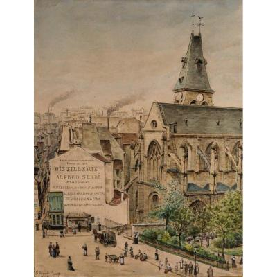 A. Nigg, Paris, The Church Of Saint-médard, The Place And The Square, Drawing, 1877