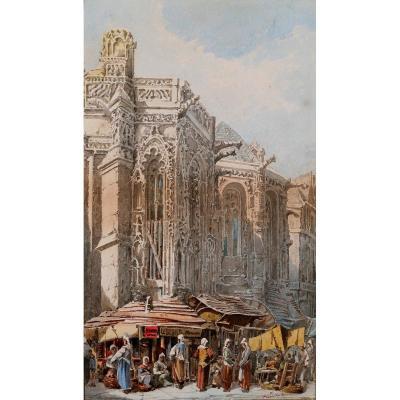 A. CARDINAL, XIXe, Caen, le marché, dessin, circa 1880