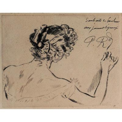 Paul RENOUARD (1845-1924) La carte de vœux, gravure, circa 1890