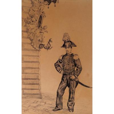 Paul RENOUARD (1845-1924) Gendarme, dessin, circa 1890