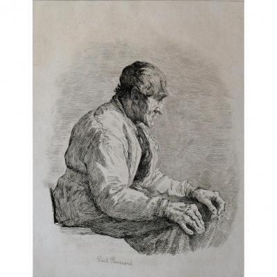 Paul RENOUARD (1845-1924) Le charpentier, gravure, circa 1895