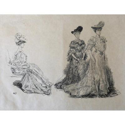 Paul RENOUARD (1845-1924) Trois femmes, gravure, circa 1895
