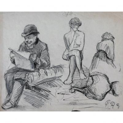 Paul RENOUARD (1845-1924) Homme lisant, femme nue et femmes de dos, dessin, circa 1890-95