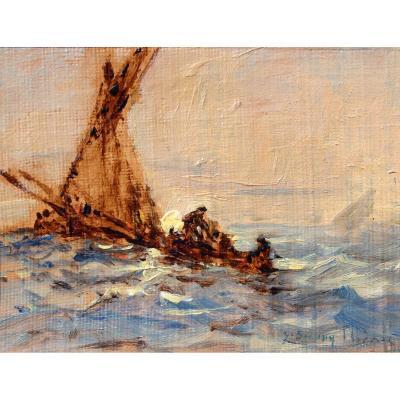 Sauveur Bernay-thieric (1874-1963) Boat At Sea, Miniature Painting, Circa 1900