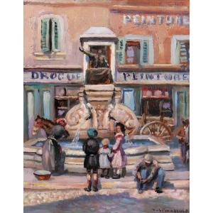 Vincent SPINAZZOLA (XIX-XXe) Marseille, Place Victor Gelu, tableau, circa 1900-10