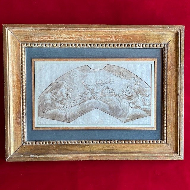 Ecole Italienne du XVIIe Siècle, Dieu le Père entouré de 2 Anges, Plume et Encre Brune