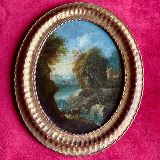 Flemish School Seventeenth Century, Animated Landscape, Oil On Copper, Oval