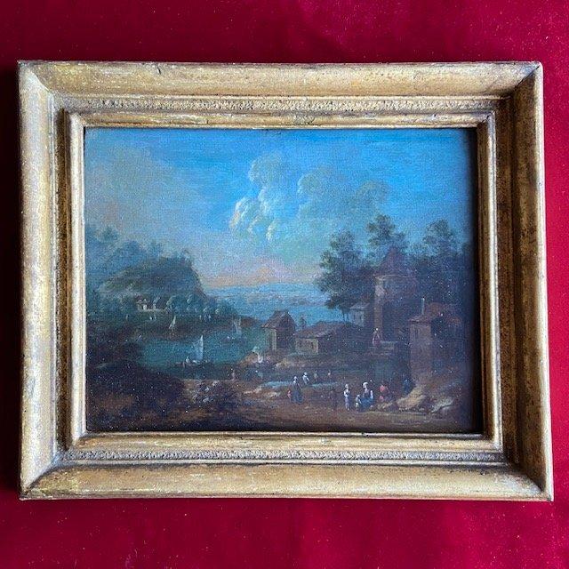 Ecole Flamande De La Fin Du XVIIIe Siècle, Paire De Paysages Animés, Huile Sur Panneau
