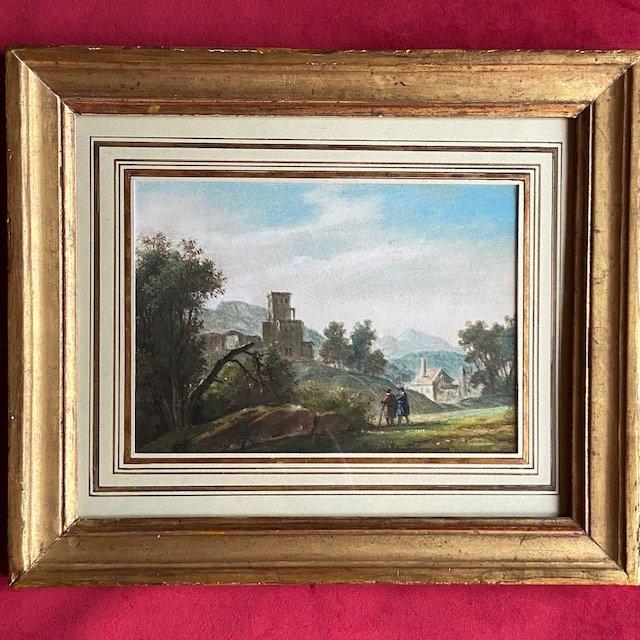 Alexandre  Hue (1779 - 1858), Paysage Animé, Aquarelle