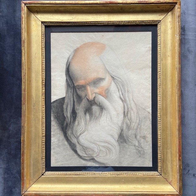 Entourage d'Hippolyte Flandrin (1809 - 1864), Portrait De Prophète, Crayon
