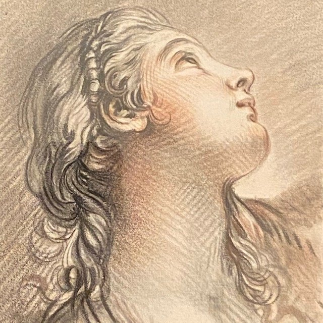 François Boucher (1703 - 1770), Portrait Of Young Woman, Demarteau Engraver, 18th Century Engraving