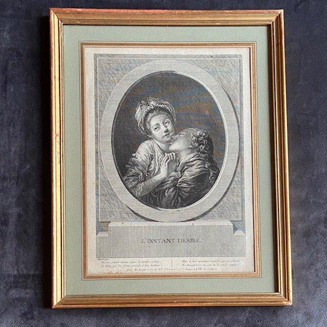 Jean-Honoré Fragonard (1732 - 1806), l'Instant Désiré, Gravure Au Noir