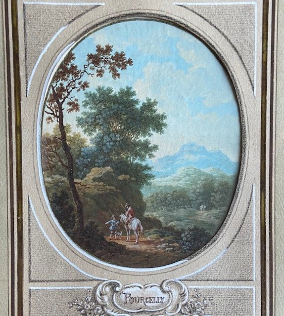 Jean-baptiste Pourcelly (act 1791 - 1802), Animated Landscapes, Pair Of Gouaches On Vellum-photo-4