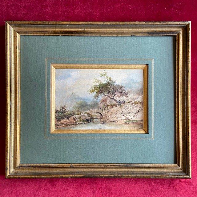 Eugène Ciceri (1813 -1890), Paysage Animé, Aquarelle Datée Et Signée