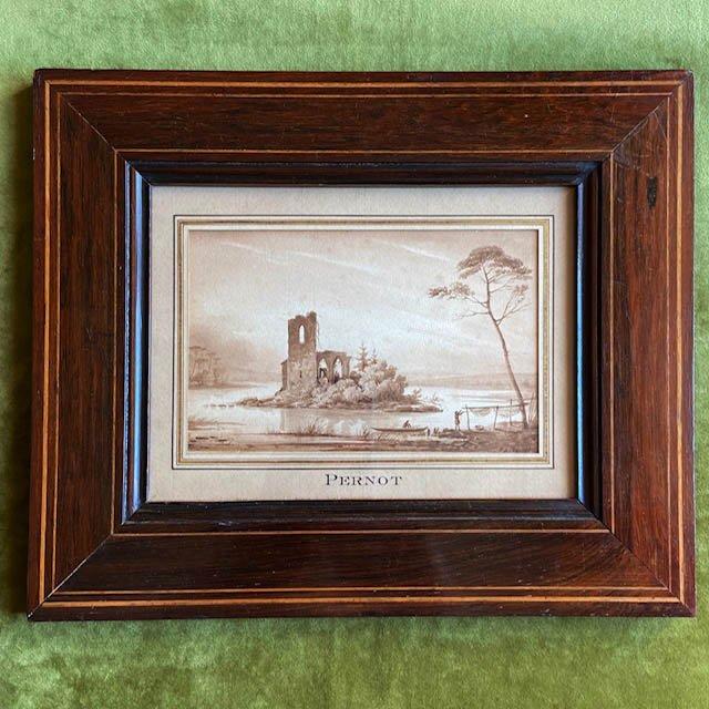 François Alexandre Pernot ( 1793 - 1865), Paysage Fluvial, Lavis De Bistre
