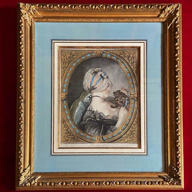 Marc Antoine Parelle (act 1766-1774), Gravure Anglaise XVIIIe, Jeune Fille Au Petit Chien