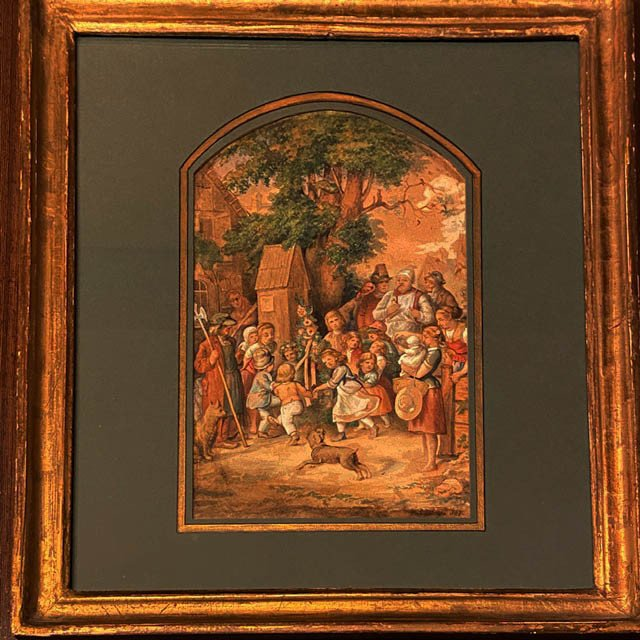 Ent. de Ludwig RICHTER (1803 - 1884), La Fête Villageoise, Aquarelle Gouachée