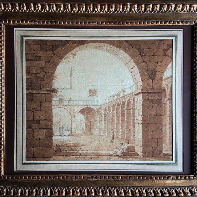 Constant Bourgeois Du Castelet (1767 - 1841), élève De David, Architecture Animée, Signée Datée