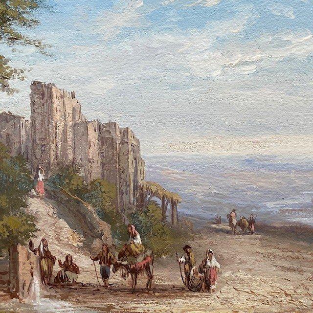 Paul Pascal (1832-1905), Paysage Italien Animé, Gouache  Signée, Datée-photo-2