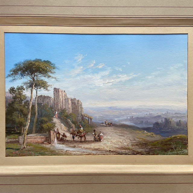 Paul Pascal (1832-1905), Paysage Italien Animé, Gouache  Signée, Datée-photo-3