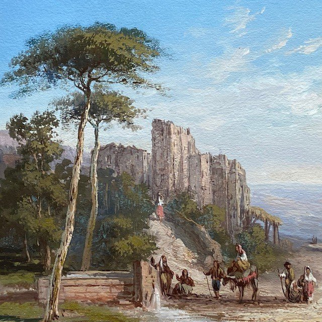 Paul Pascal (1832-1905), Paysage Italien Animé, Gouache  Signée, Datée-photo-4