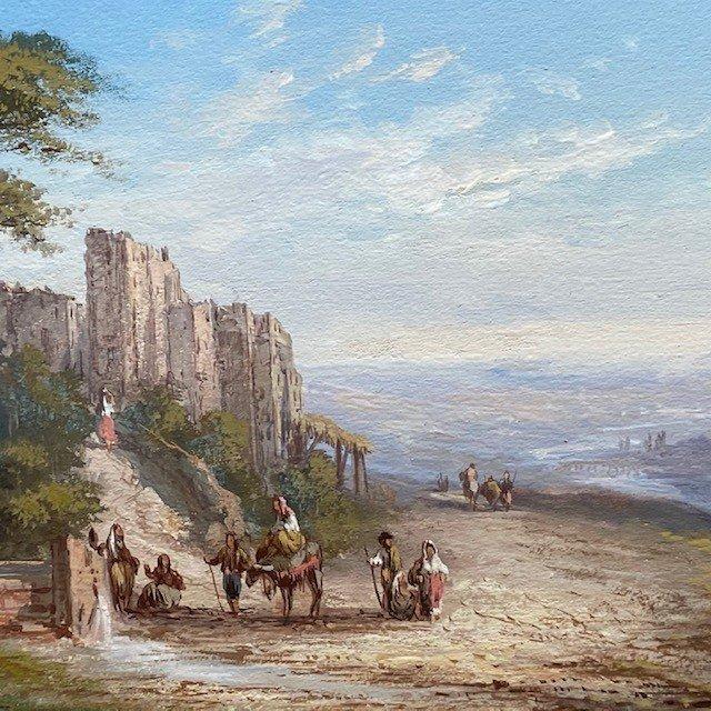 Paul Pascal (1832-1905), Paysage Italien Animé, Gouache  Signée, Datée-photo-1