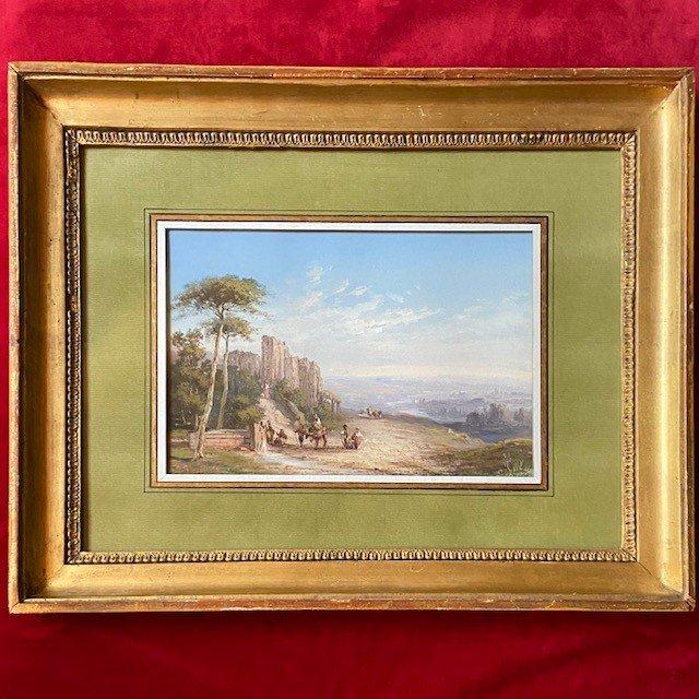 Paul Pascal (1832-1905), Paysage Italien Animé, Gouache  Signée, Datée