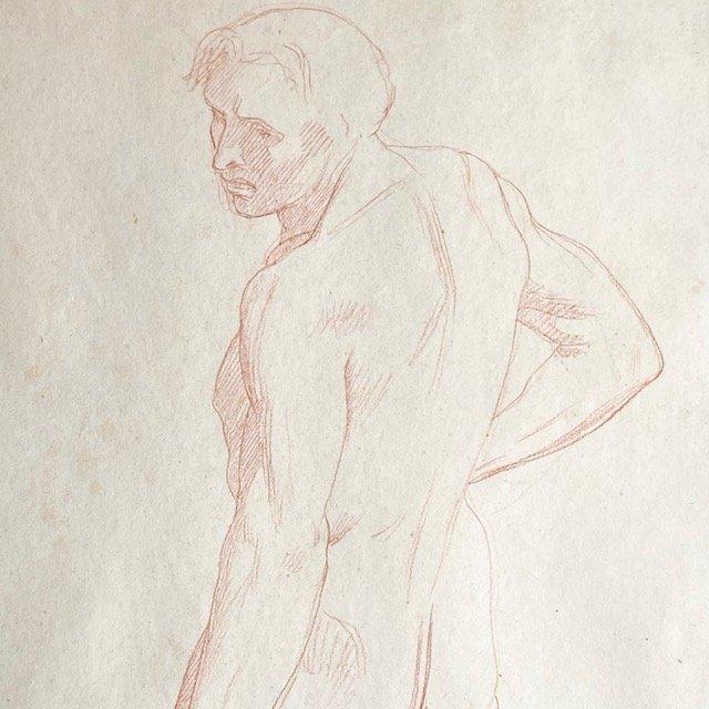 Jean-Léon GEROME - Dessin Académie Masculine- Sanguine