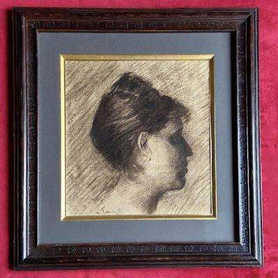Léon Fauche (1868 -1950), Portrait Of Woman In Profile