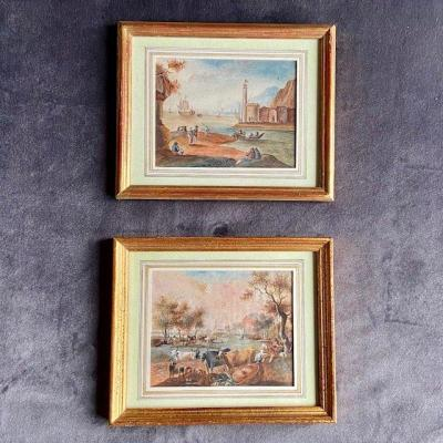 Dutch School From The Beginning Of The 19th Century, Pair Of Gouaches Representing Animated Landscapes