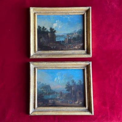 Flemish School From The End Of The 18th Century, Pair Of Animated Landscapes, Oil On Panel