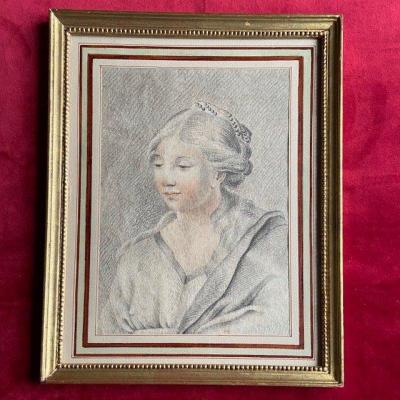 18th Century French School, Portrait Of Young Girl, Three Pencils