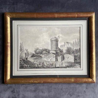 18th Century French School, Animated Landscape At The Tower And The Ancient Temple, Feather And Lavis