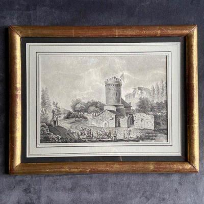Ecole Française Du XVIIIe Siècle, Paysage Animé à La Tour Et Au Temple Antique, Plume Et Lavis