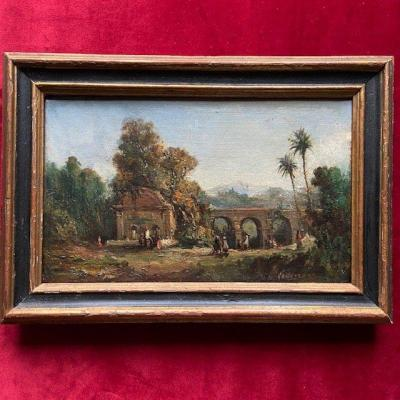 Barthélémy Lauvergne (1805 -1871), View Of The Cherchell Aqueduct, Oil On Orientalist Canvas
