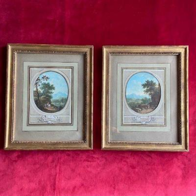 Jean-baptiste Pourcelly (act 1791 - 1802), Animated Landscapes, Pair Of Gouaches On Vellum