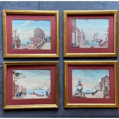 18th Century Eastern School, Series Of 4 Views Of Animated Ports, Gouaches