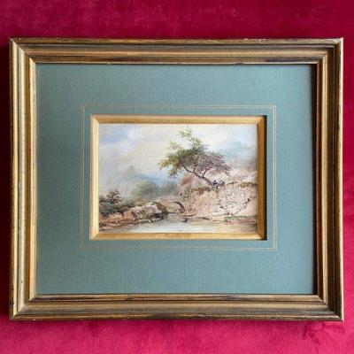 Eugène Ciceri (1813 -1890), Animated Landscape, Watercolor Dated And Signed