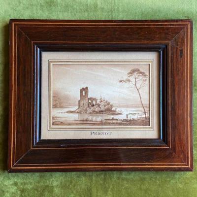 François Alexandre Pernot (1793 - 1865), River Landscape, Lavis De Bistre