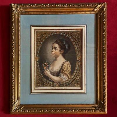 Jean Baptiste Greuze (1725 - 1806), Gravure Anglaise Du XVIIIe, Jeune Fille,  Marin Graveur