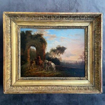 French School Of 19th, Oil On Pannel, Beautiful Frame