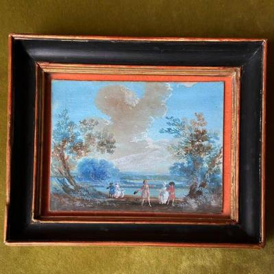18th Century French School In The Style Of Lg Moreau, Animated Landscape, Gouache Dated 1780