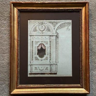 19th Century French School, Decor Project, Watercolor, Brown Wash, Beautiful Patina Frame